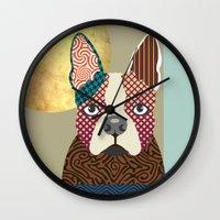 boston terrier Wall Clocks featuring Boston Terrier  by Lanre Studio