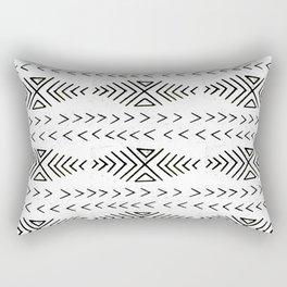 Mudcloth black and white linocut pattern geometric minimal modern trendy design Rectangular Pillow