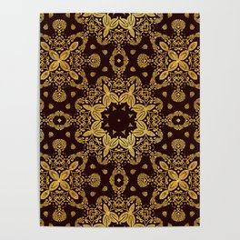 golden flowers on the brown background Poster