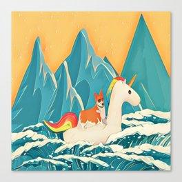 Corgi and the rainbow unicorn Canvas Print