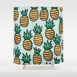 Pineapple illustration pattern on blue background Shower Curtain