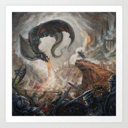 Black Battle Dragon Art Print