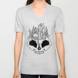 GROW - Succulents in a skull Unisex V-Neck