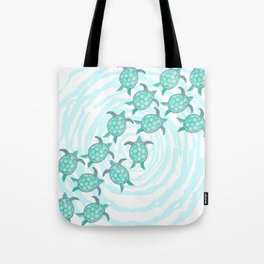 Watercolor Teal Sea Turtles on Swirly Stripes Tote Bag