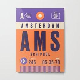 Retro Airline Luggage Tag - AMS Amsterdam Schiphol Metal Print