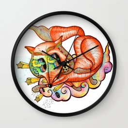 Rainbow Fox Wall Clock