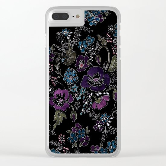 Floral pattern on a black background . Blue and purple flowers . Clear iPhone Case