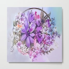Painterly Violet Floral Abstract Metal Print