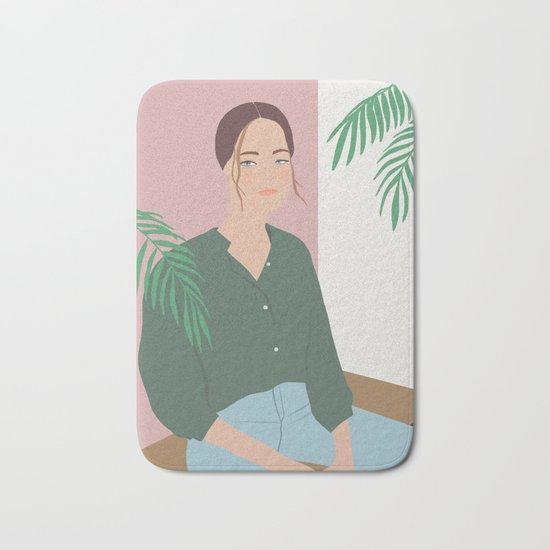 Summer Breeze, girly, fashion illustration, illustration, aloha, summer, tropical, hawaiian art Bath Mat