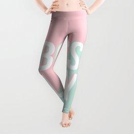 Boss Lady - Pastel Pink and Aqua #bosslady #society6 #typography Leggings
