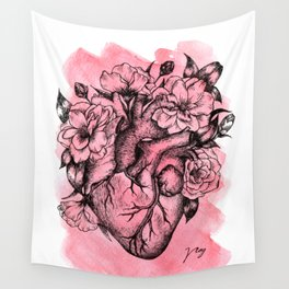 Floral Heart Watercolor Wall Tapestry