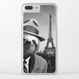 Gentleman Sloth in Paris Clear iPhone Case