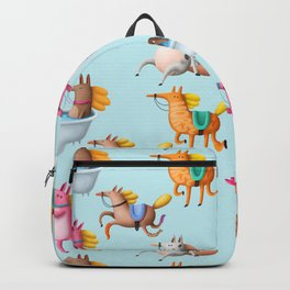 Cute and Whimsical Horse Pattern on Light Blue Backpack