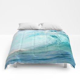 Pacific big surfing wave breaking Comforters