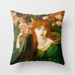 Rossetti, Dante Gabriel - La Ghirlandata-old paiting Throw Pillow