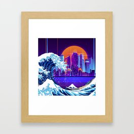 Synthwave Space: The Great Wave off Kanagawa #5 Framed Art Print