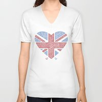 union jack V-neck T-shirts featuring Union Jack  by Joanne Hawker