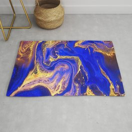 Marble gold and deep blue Rug