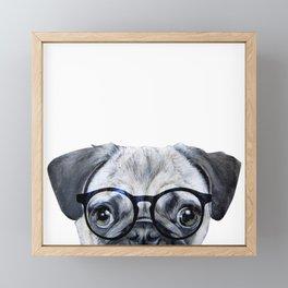 Pug with glasses Dog illustration original painting print Framed Mini Art Print