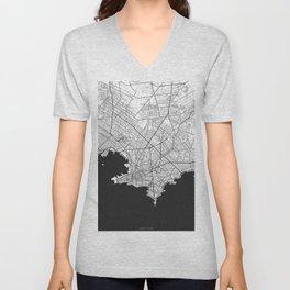 Montevideo Map Gray Unisex V-Neck