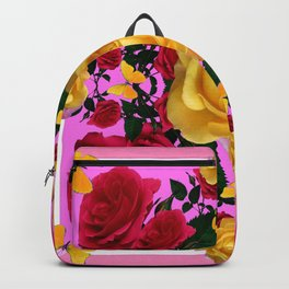 RED-YELLOW ROSES & YELLOW BUTTERFLIES ART Backpack