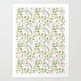 Rabbits in Ruffles Art Print