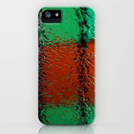 Through the window: Green, red, white colors abstract iPhone Case