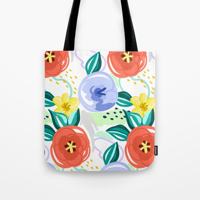 Flowers red pattern Tote Bag