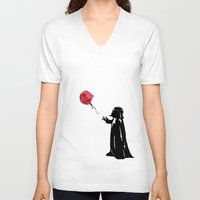banksy V-neck T-shirts featuring Little Vader - Inspired by Banksy by kamonkey