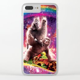 Space Cat Llama Sloth Riding Taco Clear iPhone Case