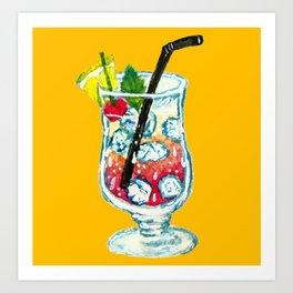 Watercolor Summer Cocktail Art Print