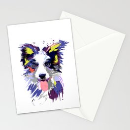 Artistic Border Collie print Gift Art Splash Border Collie Stationery Cards