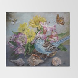 Floral still life with sparrow, bumble bee, butterfly, and sea shells Throw Blanket