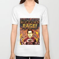 nicolas cage V-neck T-shirts featuring Nicolas Rage by Butt Ugly Co