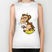 monkey island Biker Tanks featuring Groovy Monkey by Groovy Gangster