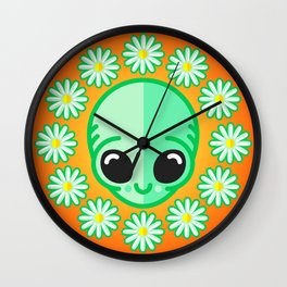 Happy Alien and Daisy Nineties Grunge Pattern Wall Clock
