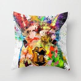 Llama Grunge Throw Pillow