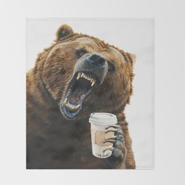 """ Grizzly Mornings "" give that bear some coffee Throw Blanket"