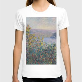 Flower Beds at Vetheuil by Claude Monet T-shirt