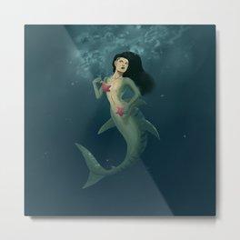Shark Mermaid with sea stars Metal Print