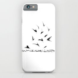 Field Crows | Minimal Ink Brush Abstract iPhone Case