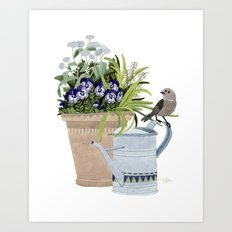 Pansies in a pot Art Print