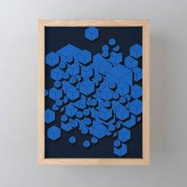 3D Cobalt blue Cubes Framed Mini Art Print