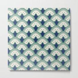 Fan Pattern Blue/Green Metal Print