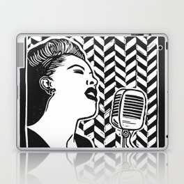 Lady Day (Billie Holiday block print blk) Laptop & iPad Skin