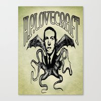 lovecraft Canvas Prints featuring H.P. LOVECRAFT by Bili Kribbs