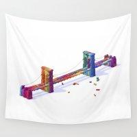 brooklyn bridge Wall Tapestries featuring Brooklyn Bridge by JR Schmidt