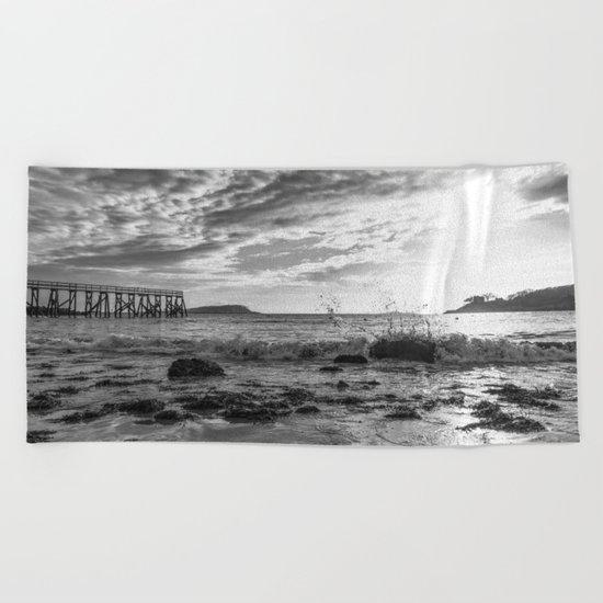Magnolia Pier Black and White Beach Towel