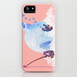 Penguins Fishing and Making Music on Their Floating Island Igloo Home iPhone Case