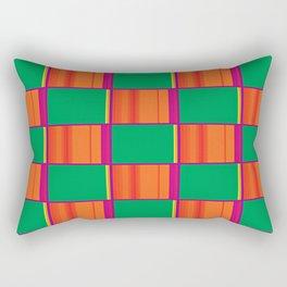 Checkered Pattern (Green/Orange) Rectangular Pillow